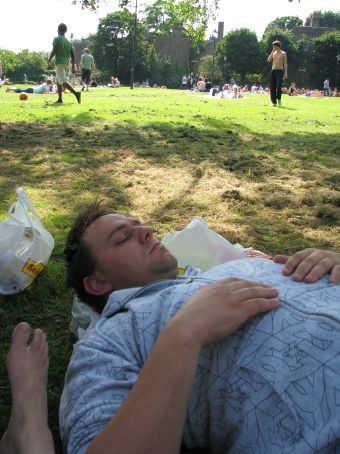 sleeping in the park in the sun..relaxing and free!