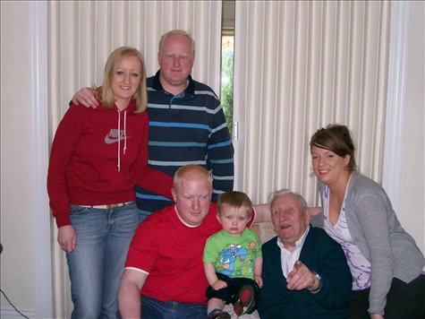 analeise and graeme (standing) and darren (all dereks kids) with darrens child alan, and grandad