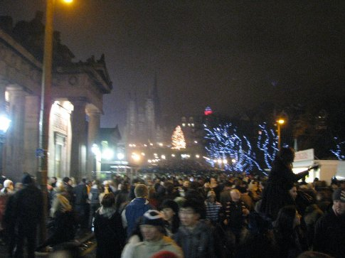 there were around 100,000 people all packed along the streets,it was crazy but felt like a huge party