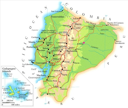 A map of ecuador showing the town of Misahualli in pink.