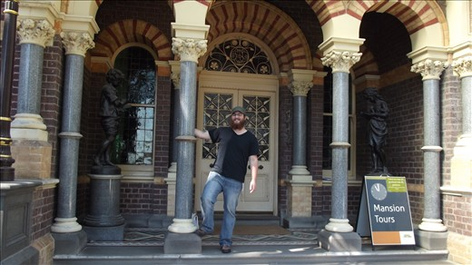 standing in front of the Rippon-Lea Garden Mansion