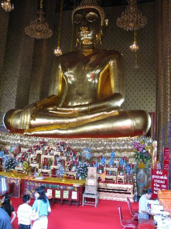The sitting buddha in the Temple of Bells