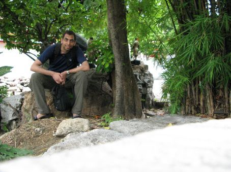 Me taking a quick break in the rock garden in Wat Pho