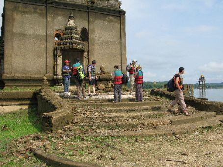 Us strolling around the sunken temple.