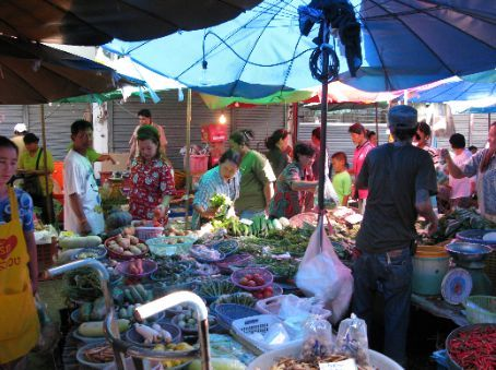 The hustle and bustle of the local market in Nonthaburi.