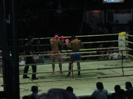 Thai kickboxing at Lumpini Stadium, Bangkok.