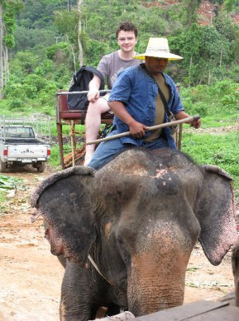 Stephen returning from his elephant trek through the centre of Koh Chang island.