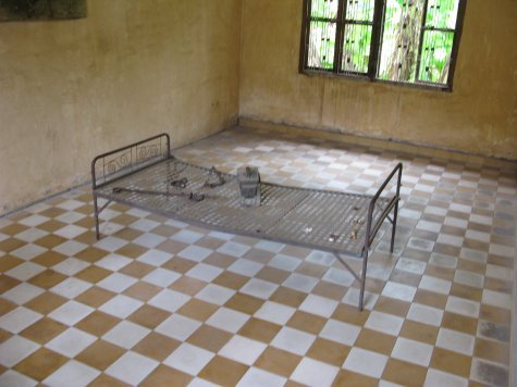 The metal bedframes which prisoners of S21 were shackled.