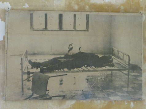 A photo of someone lying on a metal bedframe.