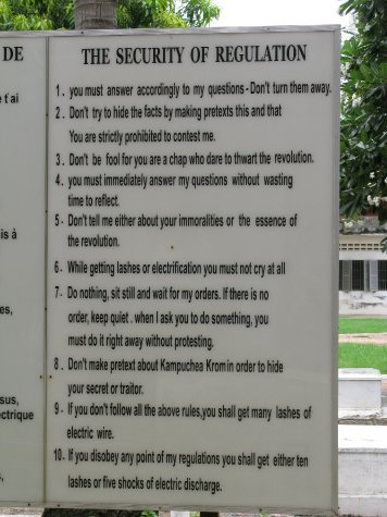 The rules which prisoners of S21 had to abide by.