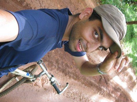 Cheesy snapshot of me on my bike going to the waterfalls.