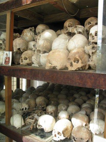 Skulls excavated from the killing fields near Phnom Penh.