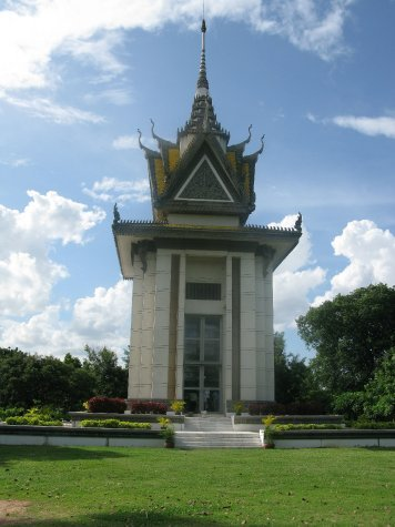 The glass monument erected on the execution ground foe thr torture victims of S-21 - often called the killing fields.