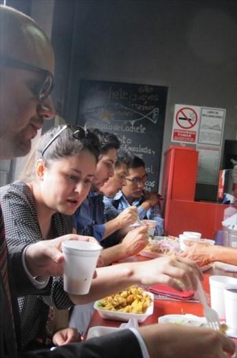 Dining at the counter at Al Toke Pez, Lima Peru