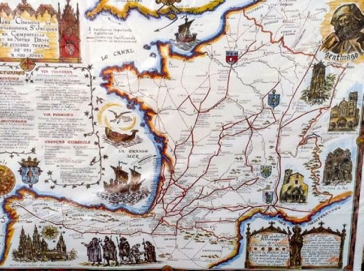 Vezelay France Map.Map Of The Four Pilgrim Routes Across France Paris To Vezelay And