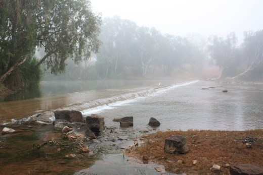 Old crossing on the Roper River at Roper Bar, the early morning mist gave it a surreal look