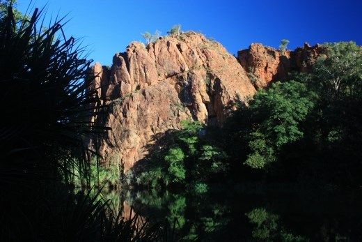 An early morning view of the start of the first gorge with the reflections in the mirror like water