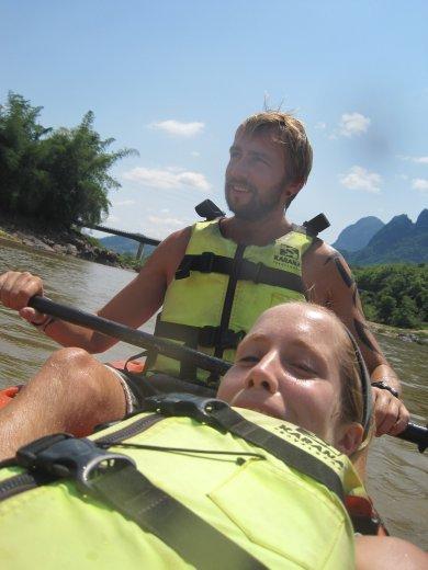 kayaking down the mekong
