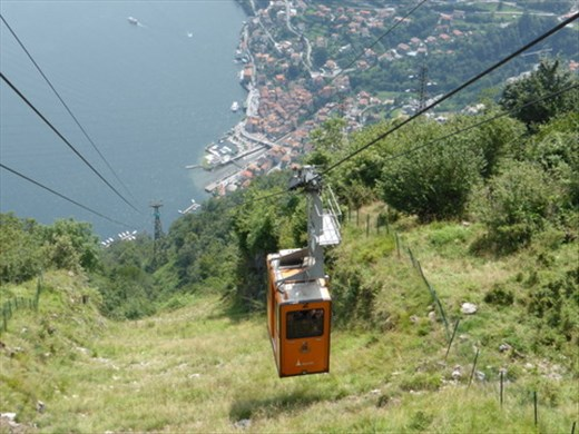 Cable car at Pigra looking down to Argegno
