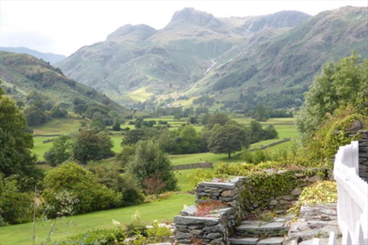 View of the Langdale Pikes from Windermere