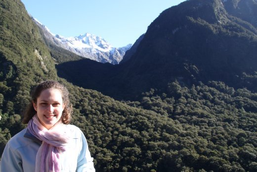 Joannah on drive to Milford Sound