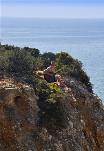 South-Portugal, Lagos. Me, playing and ode to the Ocean, 2014