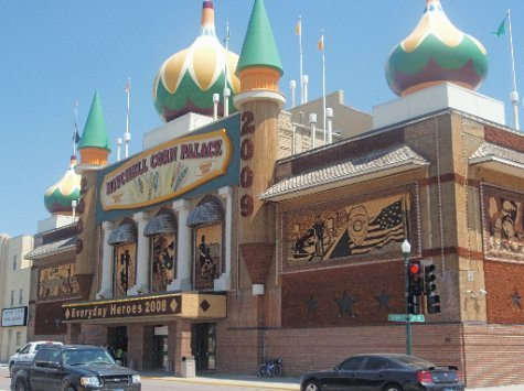 The Corn Palace, Mitchell, SD.  Decorated with corn stalks and ears to a different theme every year, just as it was when my mother was here as a girl.