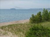 Lake Michigan and our ship - the Badger - coming in to Manitowoc: by johnkeith, Views[213]