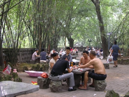 Card playing in Eling Park, Chongqing