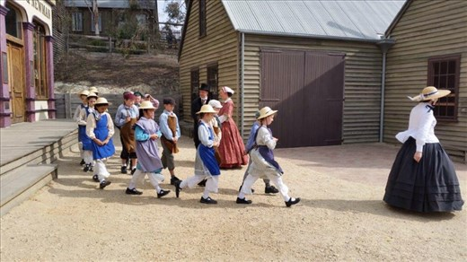 Sovereign Hill, school children enacting the past.