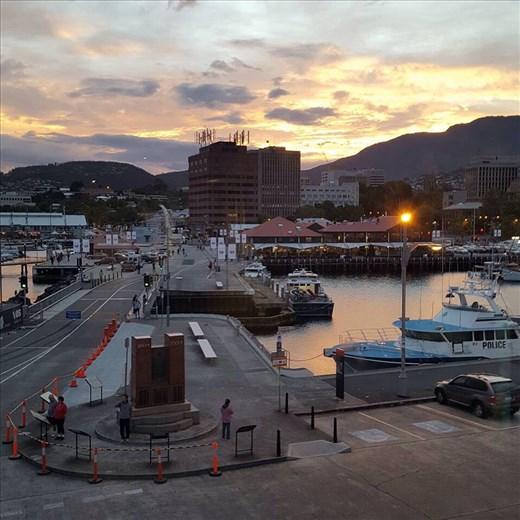 Sunset looking towards Mount Wellington. Taken from our room in Henry Jones hotel.