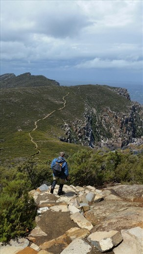 Peter on the track to end of Cape Hauy