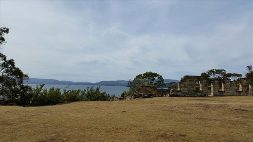 Derelict buildings and view at old Coal Mines Site, Tasman Peninsula