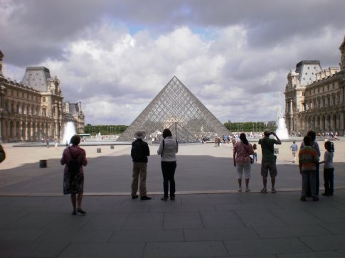 Lourve - this pyramid lights up at night, and allegedly has 300 diamonds in it