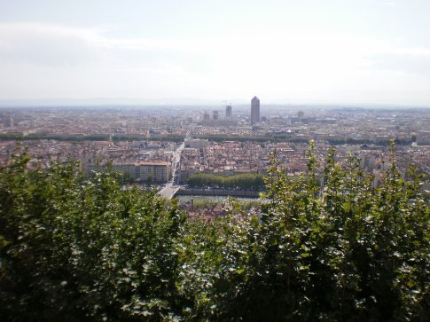 view of lyon from on top of the hill