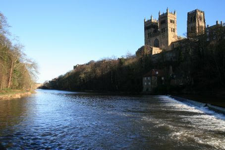 The river Wear forms a natural moat around the castle and cathedral.  Many