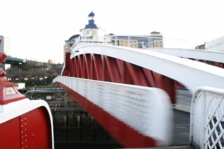 Swing bridge in action - Quayside is obscenely lively Friday and Saturday.