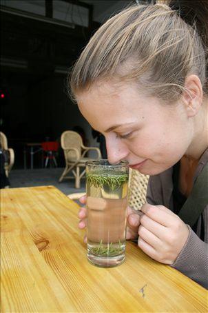 Jenny appreciates tea - guided by the master