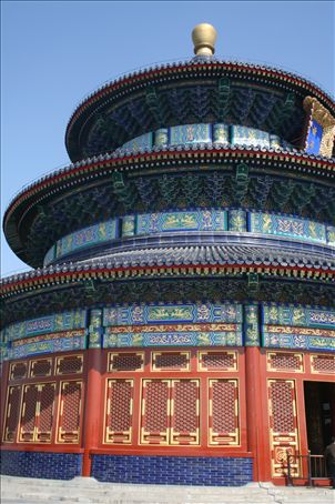 This is the main hall of prayer at the Temple of Heaven.  Emperors from the Ming and Qin dynasties prayed here for a good harvest.