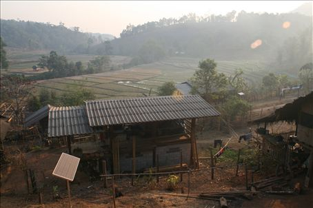 A view from the hill tribe camp.  Paddy fields will not be sown until May/June when the rains come.