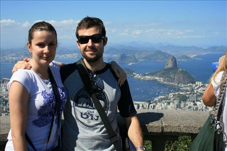 view from the Corcovado in front of ¨Cristo Rendetor¨ you´d need to be in a helicopter to capture the view from across Christ´s shoulders