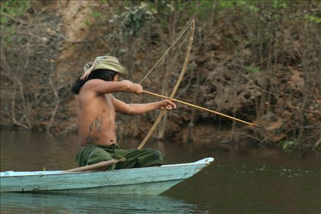 fishing using bow and arrow