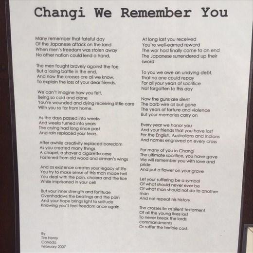 Wise words. WW2 Memorial @ Changi Prison