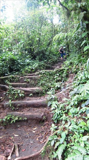 Jorje hiking Chato Volcano. No path here, just make your way up the volcano inbetween the rain and mud trails.
