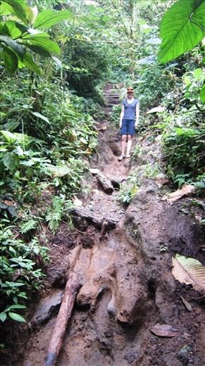 Juanita taking on the mud path up Chato Volcano.
