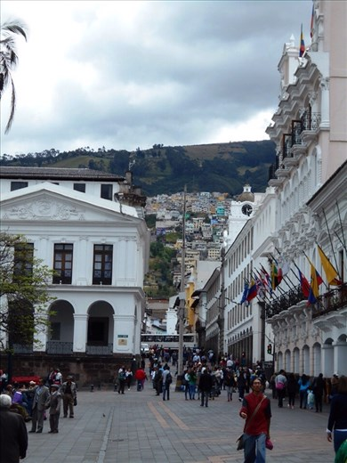 Plaza de la Independencia, and the city sprawling up the mountain side behind it.