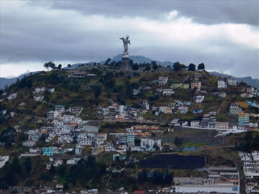 The highly photographed Virgin Mary, from the top of Quito Cathedral.