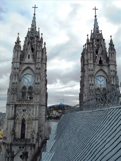 Clock towers on Quito Cathedral. Couldn't figure out why neither of them were set to the correct time.
