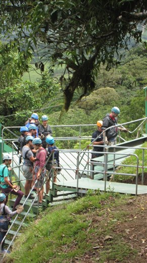 Jorje getting a new harness fitted for the superman zip-line. The biggest in Latin America, 1030 metres of flying.