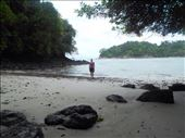 Juanita trying to find a spot to swim on the beach, too many rocks there.: by jorjejuanita, Views[155]